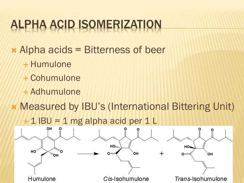  Alpha acids = Bitterness of beer  Humulone  Cohumulone  Adhumulone  Measured by IBU's (International Bittering Unit)  1 IBU = 1 mg alpha acid p