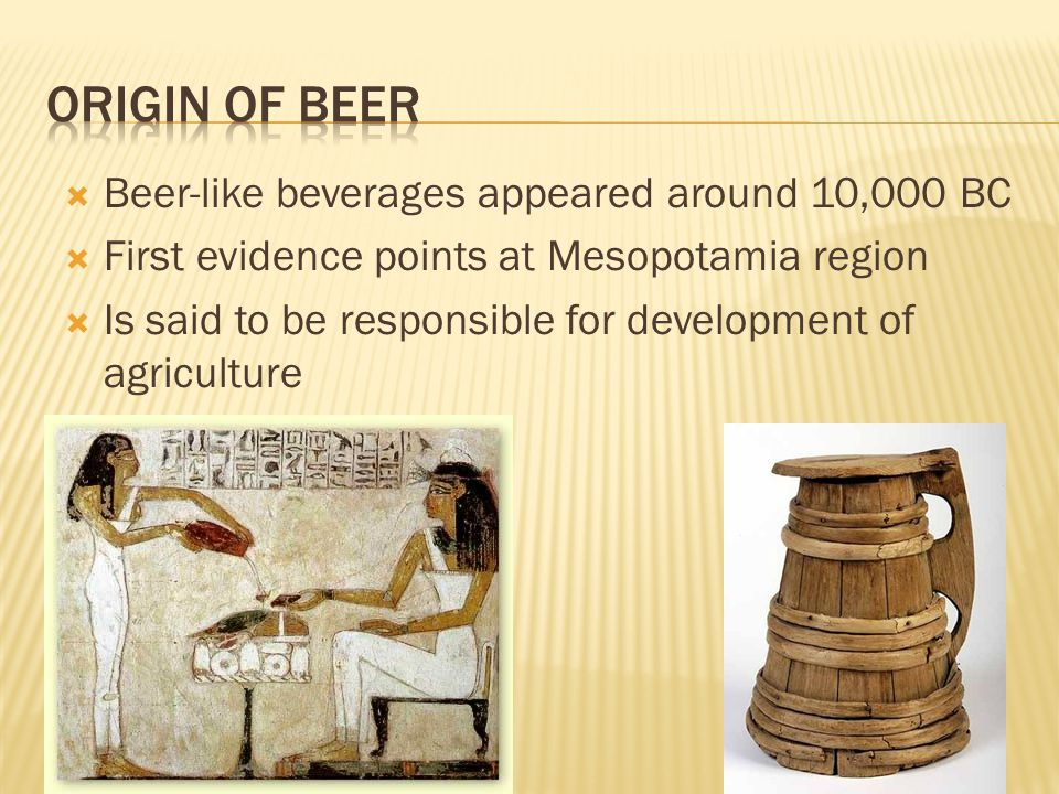  Beer-like beverages appeared around 10,000 BC  First evidence points at Mesopotamia region  Is said to be responsible for development of agricultu