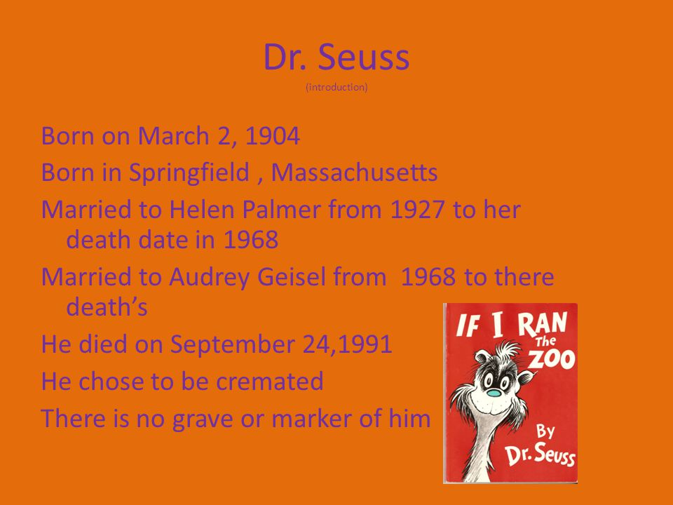 r. Seuss (Theodor Seuss Geisel) By: Kristen De La Rosa