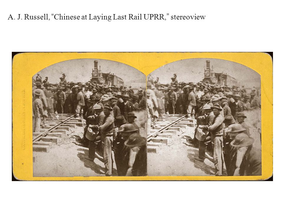 "A. J. Russell, ""Chinese at Laying Last Rail UPRR,"" stereoview"