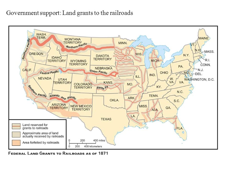 Government support: Land grants to the railroads