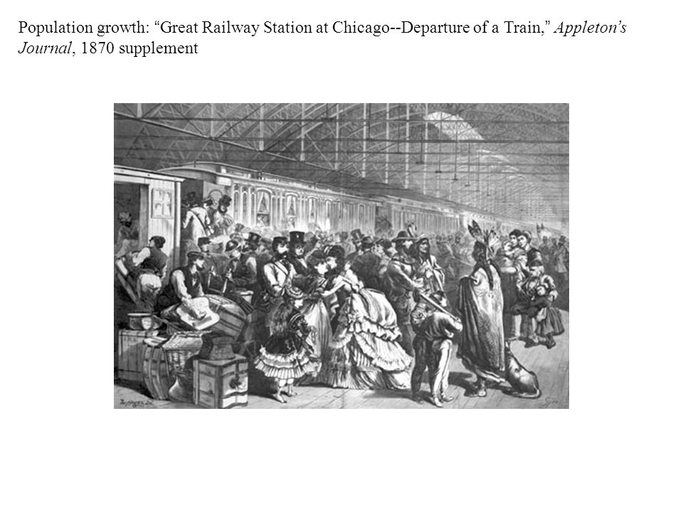 Population growth: Great Railway Station at Chicago--Departure of a Train, Appleton's Journal, 1870 supplement