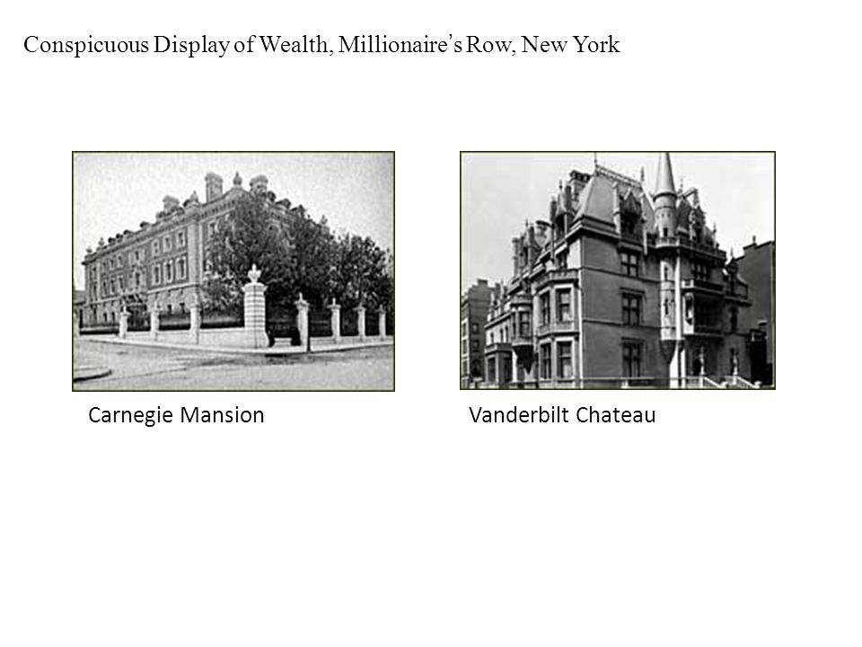 Conspicuous Display of Wealth, Millionaire's Row, New York Carnegie MansionVanderbilt Chateau