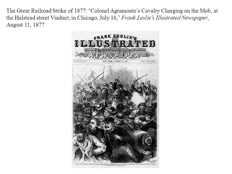 The Great Railroad Strike of 1877: Colonel Agramonte's Cavalry Charging on the Mob, at the Halstead street Viaduct, in Chicago, July 16, Frank Leslie's Illustrated Newspaper, August 11, 1877