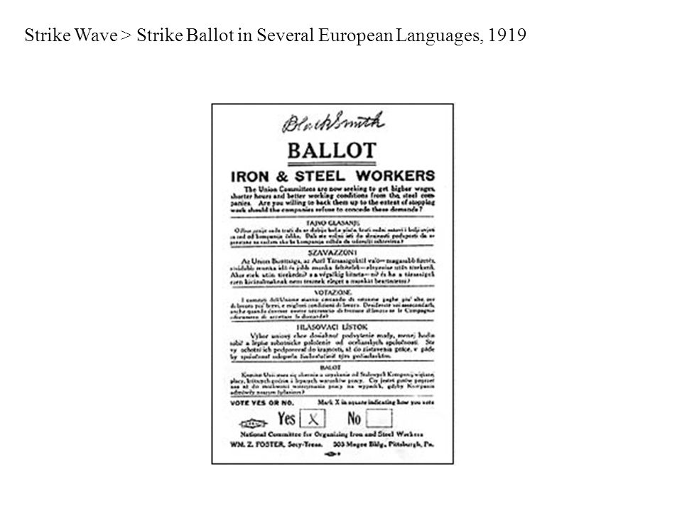 Strike Wave > Strike Ballot in Several European Languages, 1919