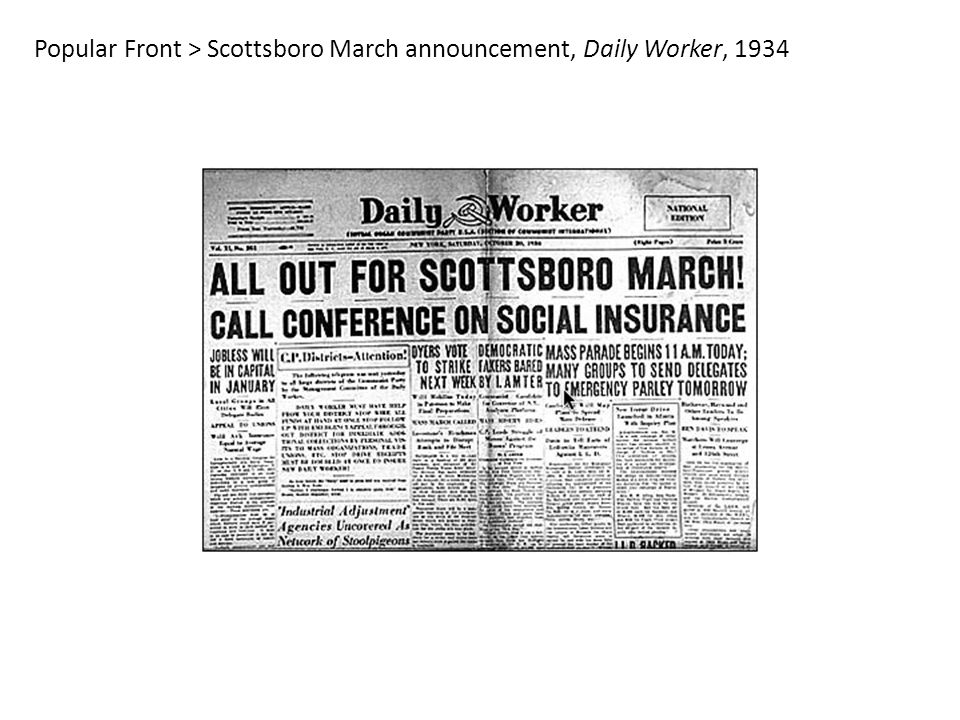 Popular Front > Scottsboro March announcement, Daily Worker, 1934