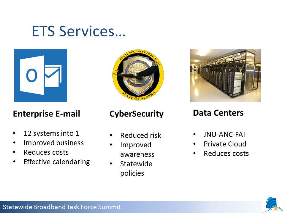 Statewide Broadband Task Force Summit ETS Services… Enterprise E-mail 12 systems into 1 Improved business Reduces costs Effective calendaring CyberSecurity Reduced risk Improved awareness Statewide policies Data Centers JNU-ANC-FAI Private Cloud Reduces costs