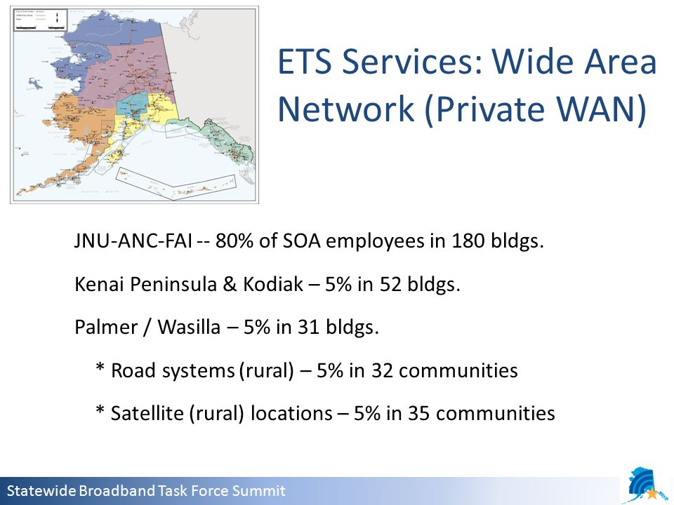 Statewide Broadband Task Force Summit JNU-ANC-FAI -- 80% of SOA employees in 180 bldgs.