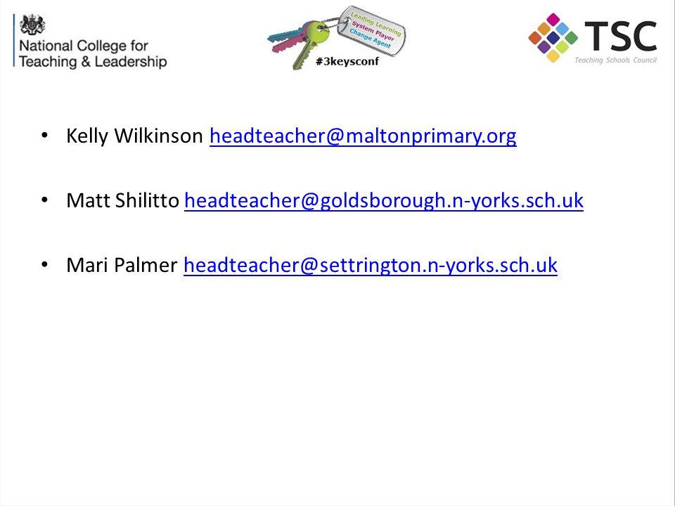 Kelly Wilkinson headteacher@maltonprimary.orgheadteacher@maltonprimary.org Matt Shilitto headteacher@goldsborough.n-yorks.sch.ukheadteacher@goldsborough.n-yorks.sch.uk Mari Palmer headteacher@settrington.n-yorks.sch.ukheadteacher@settrington.n-yorks.sch.uk