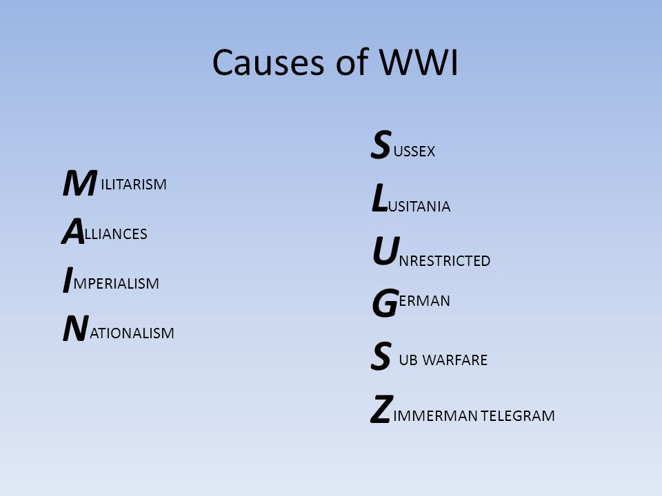 Causes of WWI MAINMAIN SLUGSZSLUGSZ ILITARISM LLIANCES MPERIALISM ATIONALISM USSEX USITANIA NRESTRICTED ERMAN UB WARFARE IMMERMAN TELEGRAM