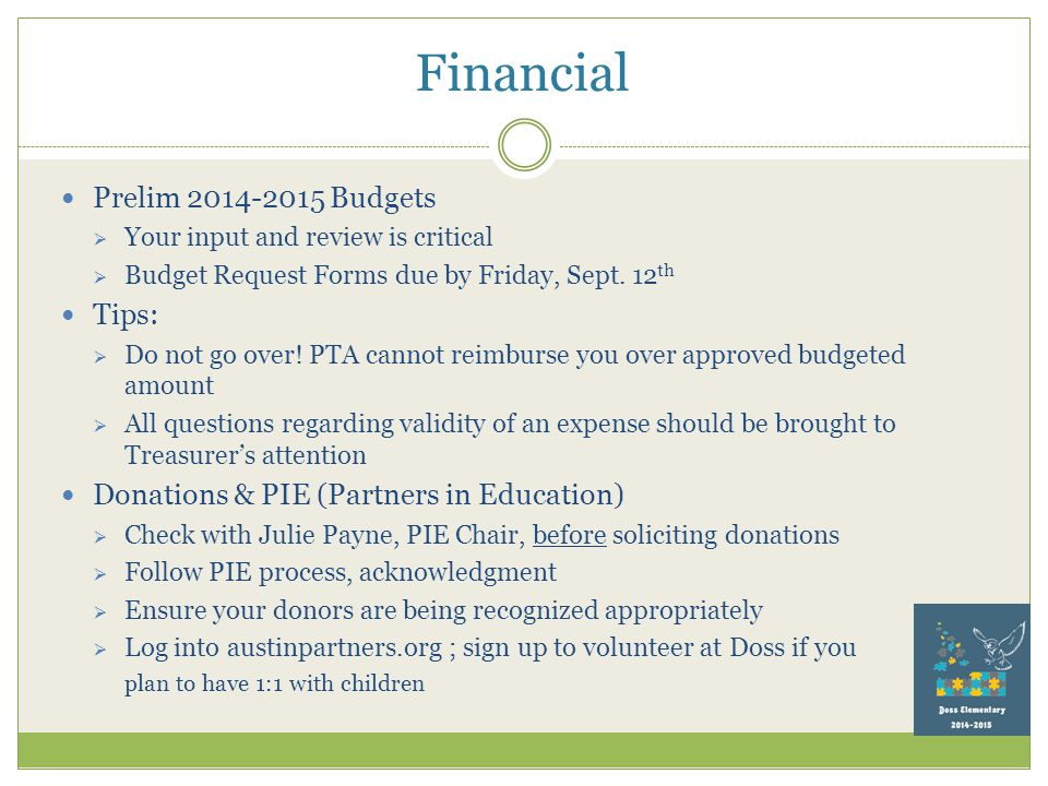 Financial Prelim 2014-2015 Budgets  Your input and review is critical  Budget Request Forms due by Friday, Sept.