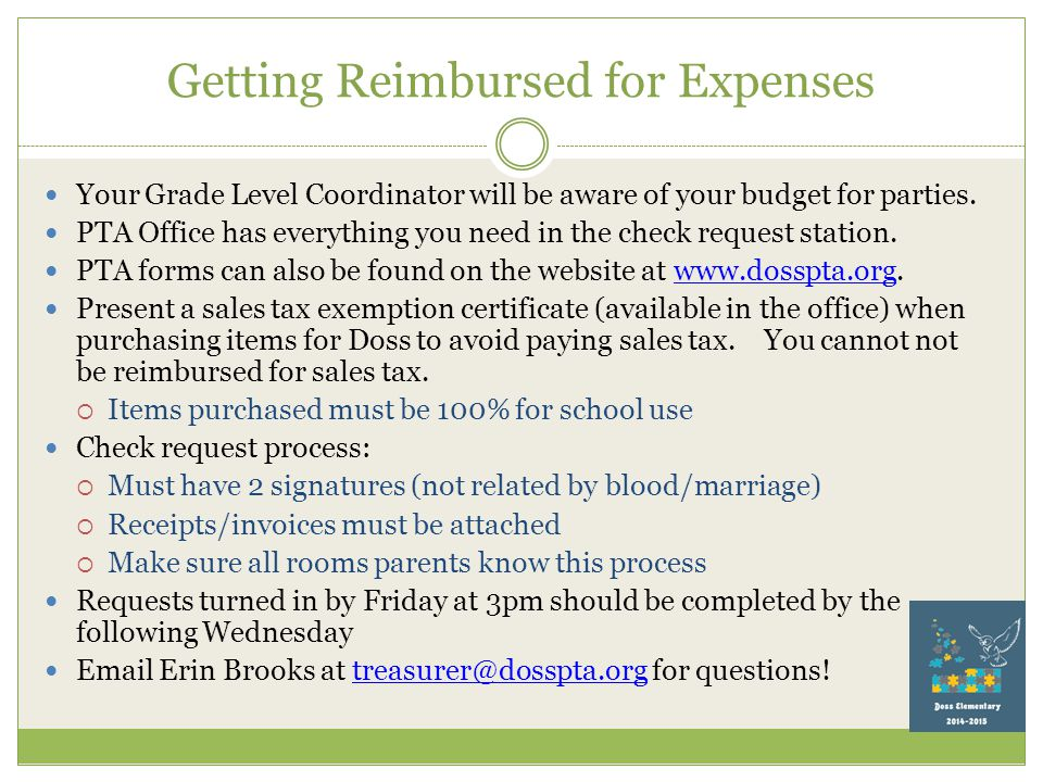 Getting Reimbursed for Expenses Your Grade Level Coordinator will be aware of your budget for parties.