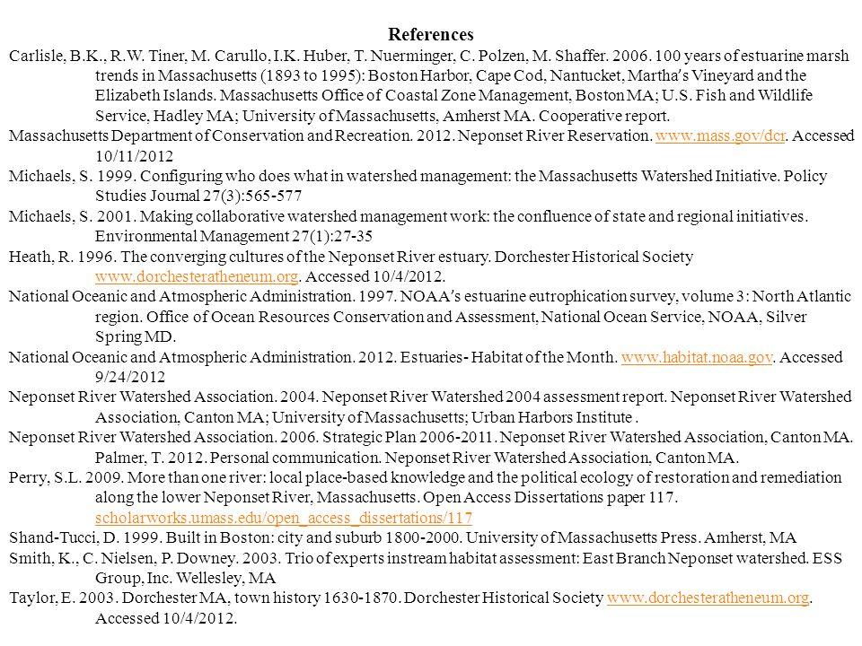 References Carlisle, B.K., R.W. Tiner, M. Carullo, I.K. Huber, T. Nuerminger, C. Polzen, M. Shaffer. 2006. 100 years of estuarine marsh trends in Mass