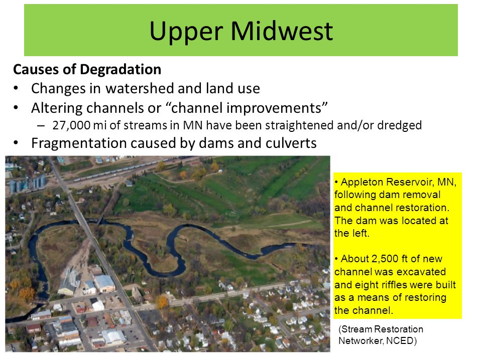 Upper Midwest Causes of Degradation Changes in watershed and land use Altering channels or channel improvements – 27,000 mi of streams in MN have been straightened and/or dredged Fragmentation caused by dams and culverts (Stream Restoration Networker, NCED) Appleton Reservoir, MN, following dam removal and channel restoration.