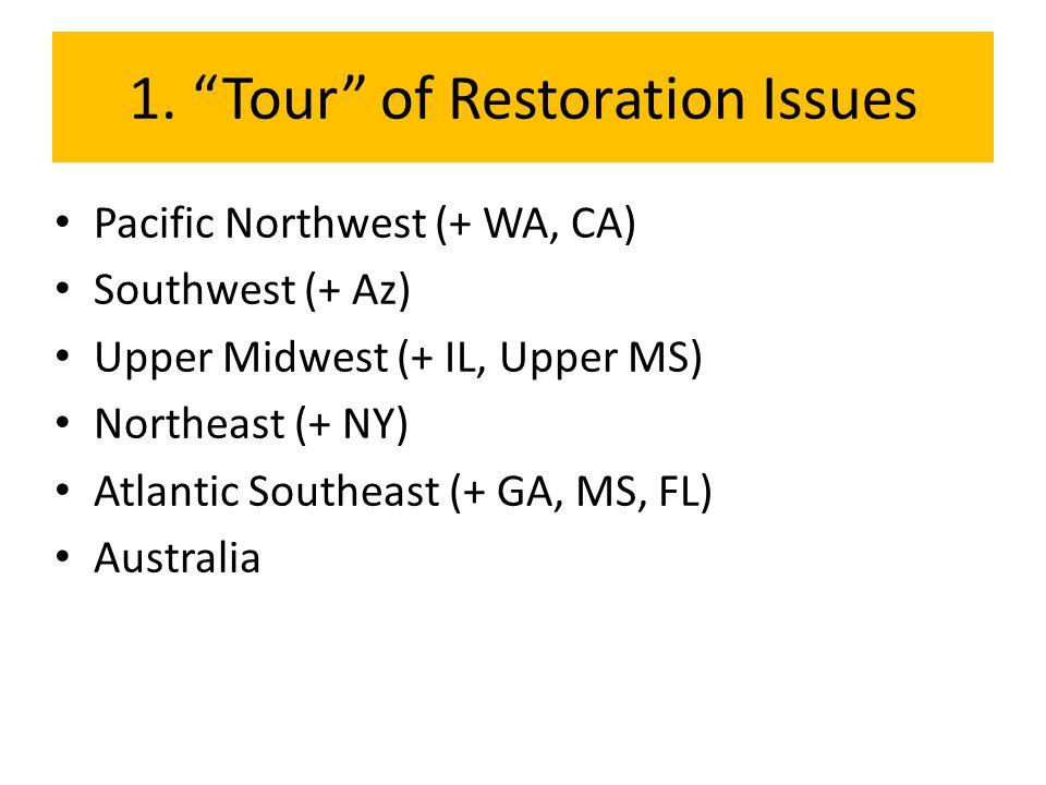 "1. ""Tour"" of Restoration Issues Pacific Northwest (+ WA, CA) Southwest (+ Az) Upper Midwest (+ IL, Upper MS) Northeast (+ NY) Atlantic Southeast (+ GA"