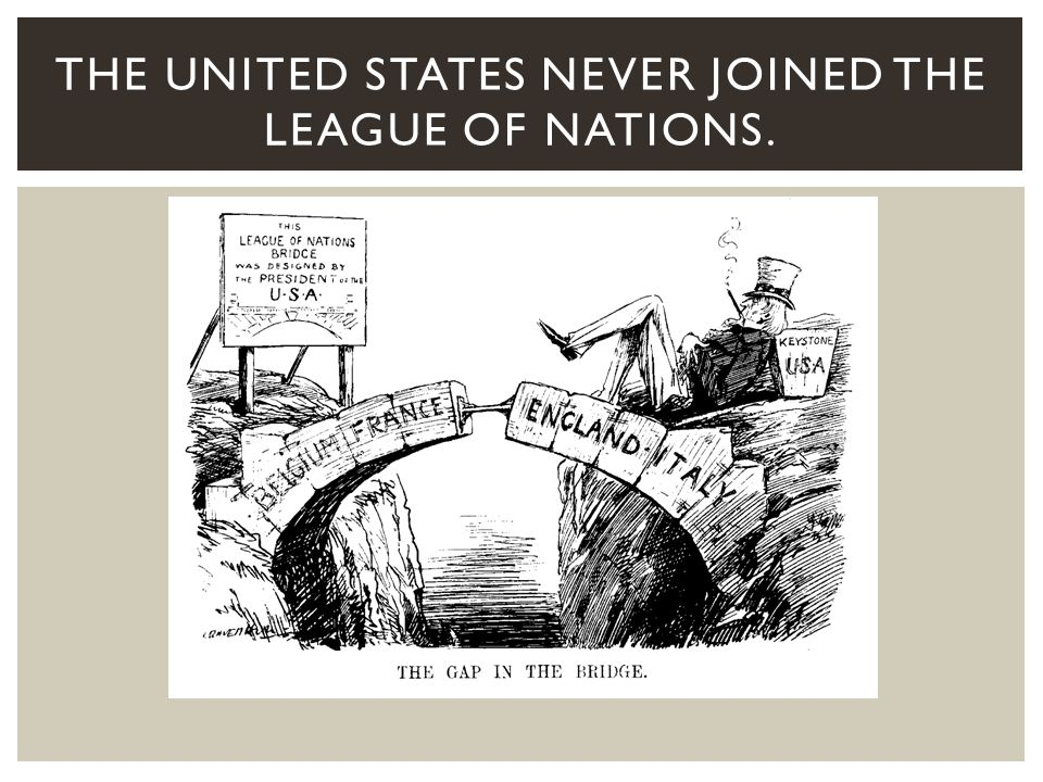 Since the United States never joined the League, it was too weak to be effective as an international peacekeeping organization.