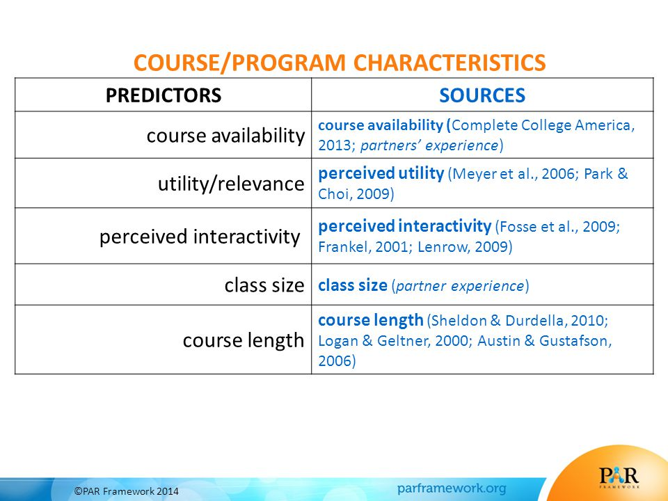 PREDICTORSSOURCES course availability course availability (Complete College America, 2013; partners' experience) utility/relevance perceived utility (