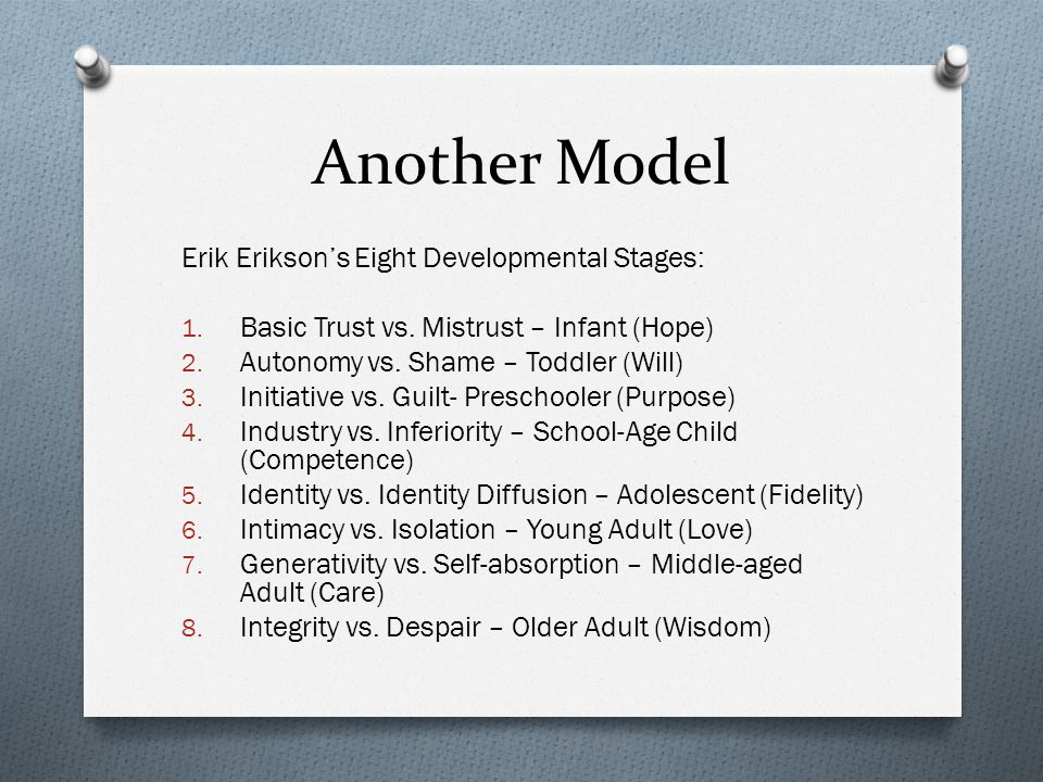 Another Model Erik Erikson's Eight Developmental Stages: 1. Basic Trust vs. Mistrust – Infant (Hope) 2. Autonomy vs. Shame – Toddler (Will) 3. Initiat