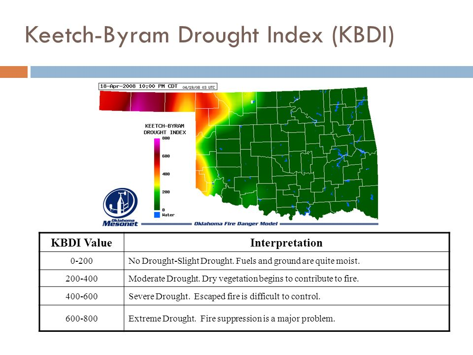KBDI ValueInterpretation 0-200No Drought-Slight Drought.