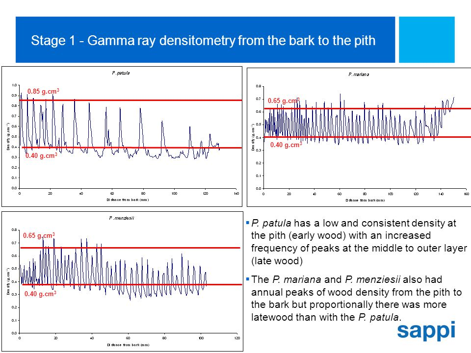 [SA Technology Centre, Sappi Manufacturing] Slide 10 Stage 1 - Gamma ray densitometry from the bark to the pith  P.