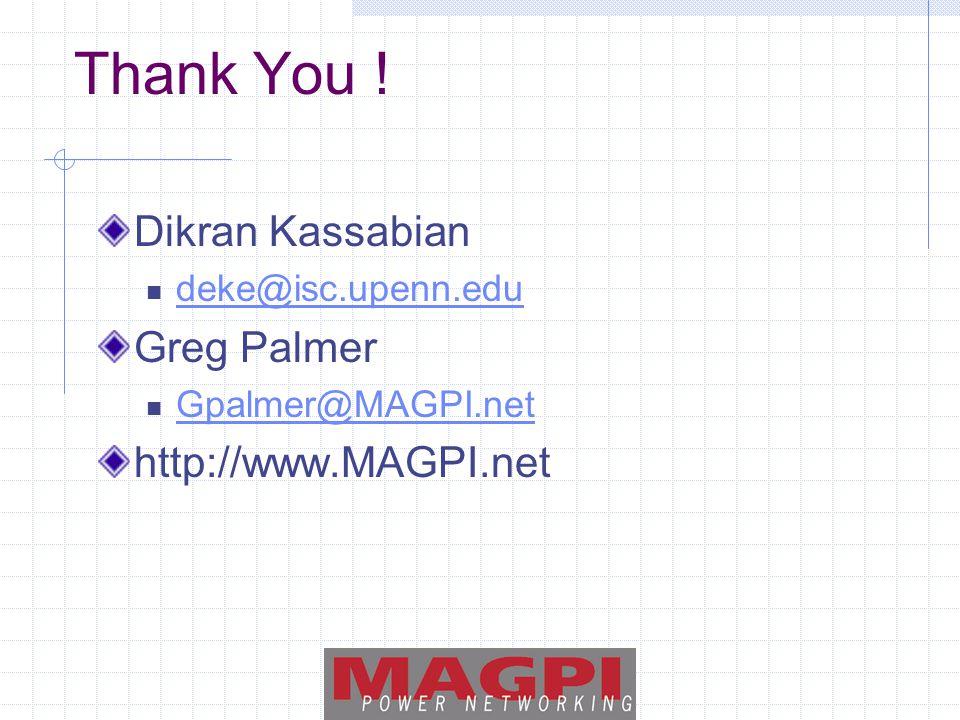 Thank You ! Dikran Kassabian deke@isc.upenn.edu Greg Palmer Gpalmer@MAGPI.net http://www.MAGPI.net