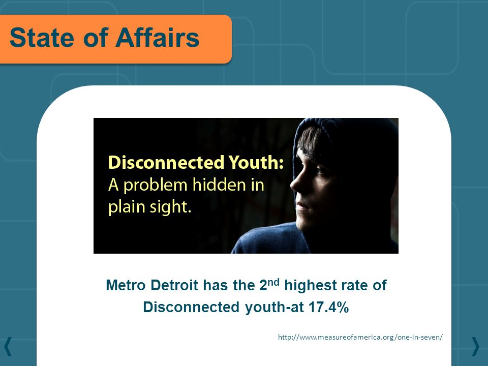 State of Affairs Metro Detroit has the 2 nd highest rate of Disconnected youth-at 17.4% http://www.measureofamerica.org/one-in-seven/