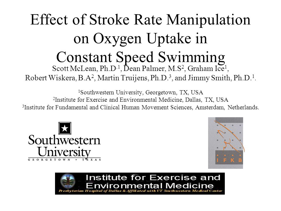 Effect of Stroke Rate Manipulation on Oxygen Uptake in Constant Speed Swimming Scott McLean, Ph.D.1, Dean Palmer, M.S 2, Graham Ice 1, Robert Wiskera, B.A 2, Martin Truijens, Ph.D.