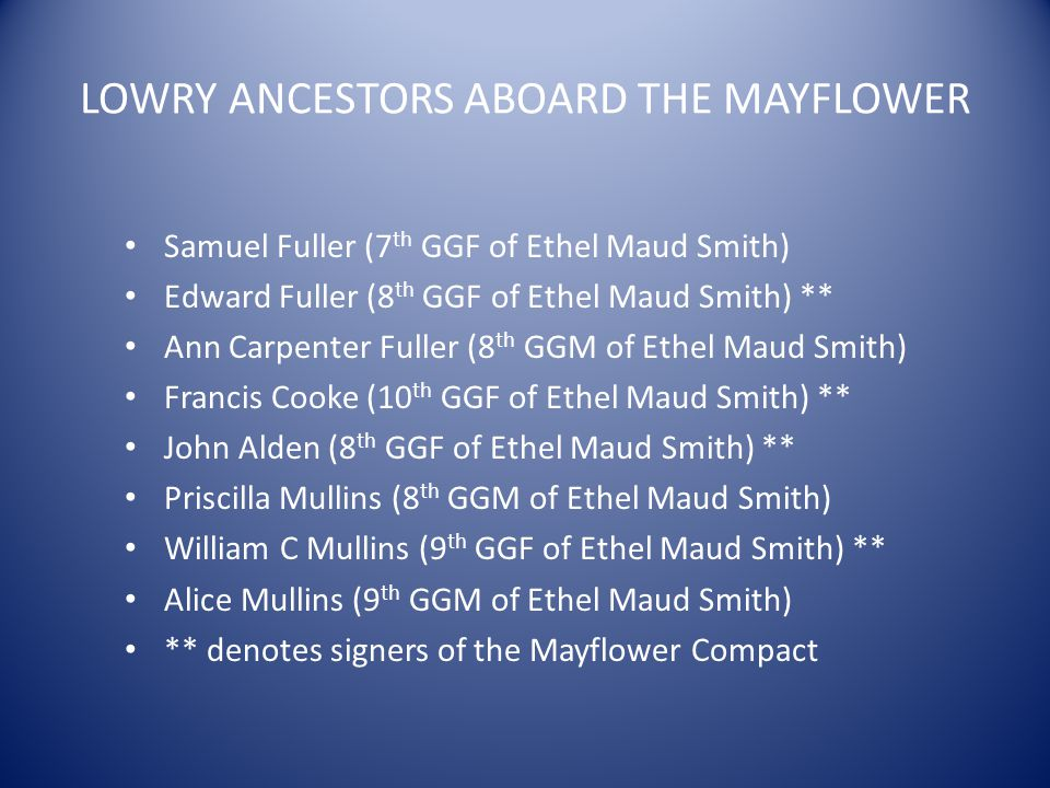 LOWRY ANCESTORS ABOARD THE MAYFLOWER Samuel Fuller (7 th GGF of Ethel Maud Smith) Edward Fuller (8 th GGF of Ethel Maud Smith) ** Ann Carpenter Fuller (8 th GGM of Ethel Maud Smith) Francis Cooke (10 th GGF of Ethel Maud Smith) ** John Alden (8 th GGF of Ethel Maud Smith) ** Priscilla Mullins (8 th GGM of Ethel Maud Smith) William C Mullins (9 th GGF of Ethel Maud Smith) ** Alice Mullins (9 th GGM of Ethel Maud Smith) ** denotes signers of the Mayflower Compact