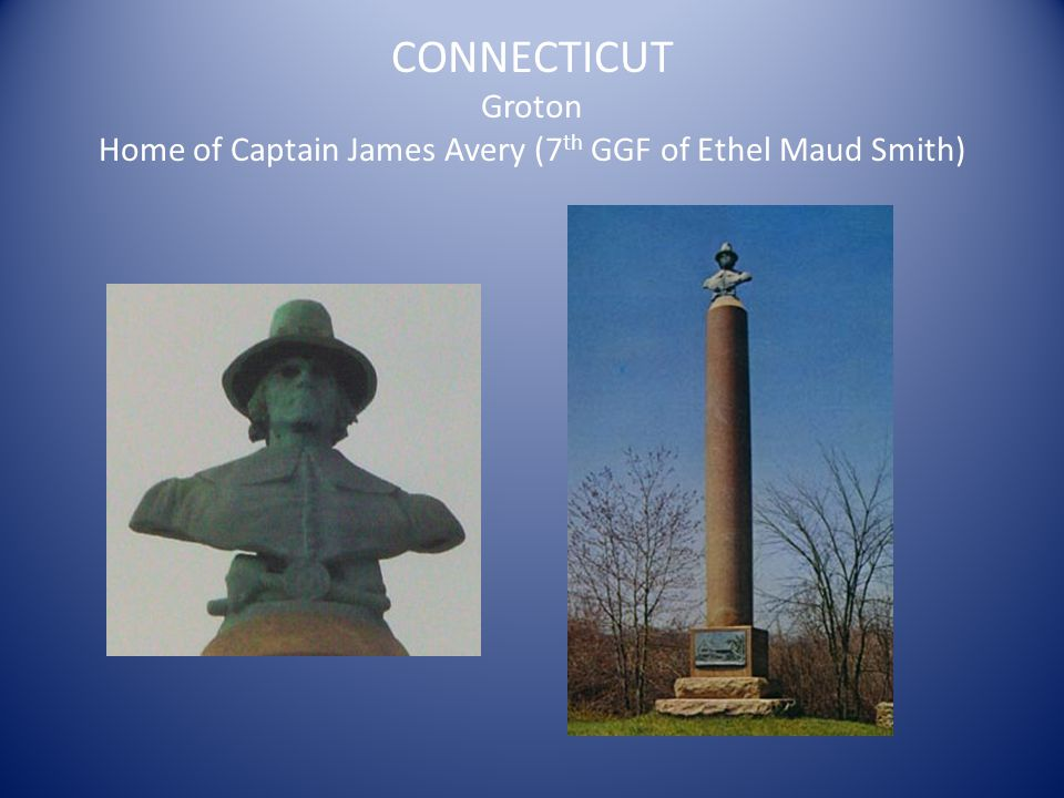 CONNECTICUT Stonington Wequetequock Burying Ground Burial of Walter Palmer (9 th GGF of Ethel Maud Smith), Grace Palmer Minor (8 th GGM of Ethel Maud Smith) and Thomas Minor (8 th GGF of Ethel Maud Smith)