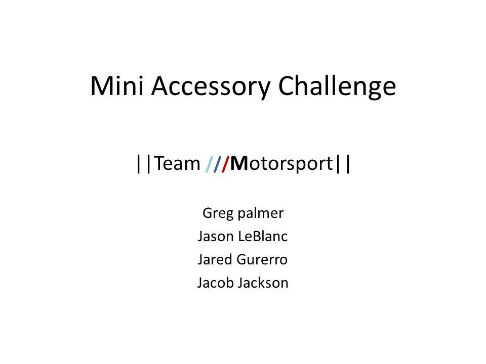 Mini Accessory Challenge ||Team /// Motorsport|| Greg palmer Jason LeBlanc Jared Gurerro Jacob Jackson