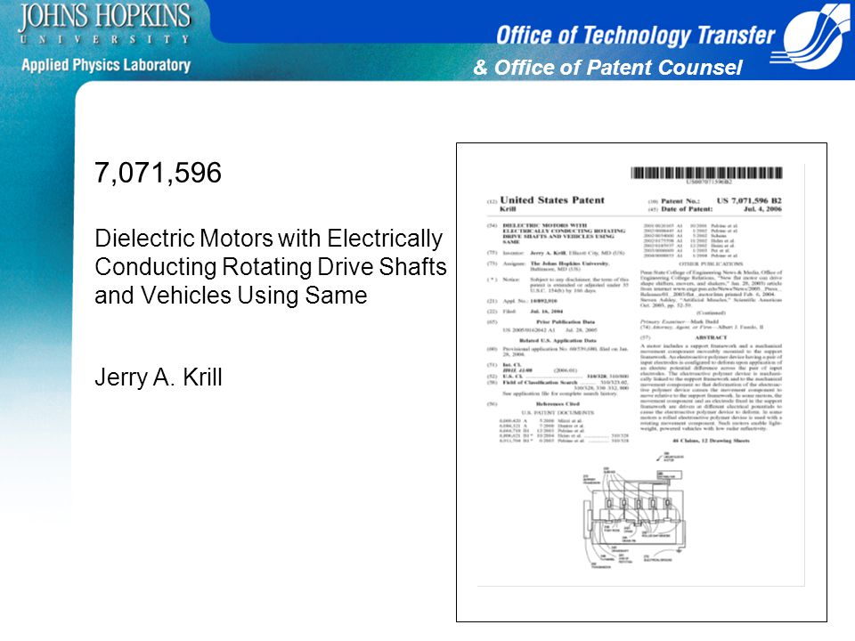 & Office of Patent Counsel 7,071,596 Dielectric Motors with Electrically Conducting Rotating Drive Shafts and Vehicles Using Same Jerry A. Krill