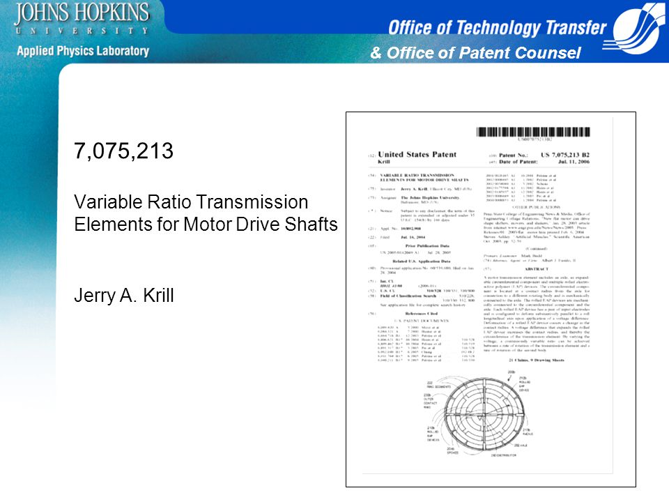 & Office of Patent Counsel 7,075,213 Variable Ratio Transmission Elements for Motor Drive Shafts Jerry A. Krill