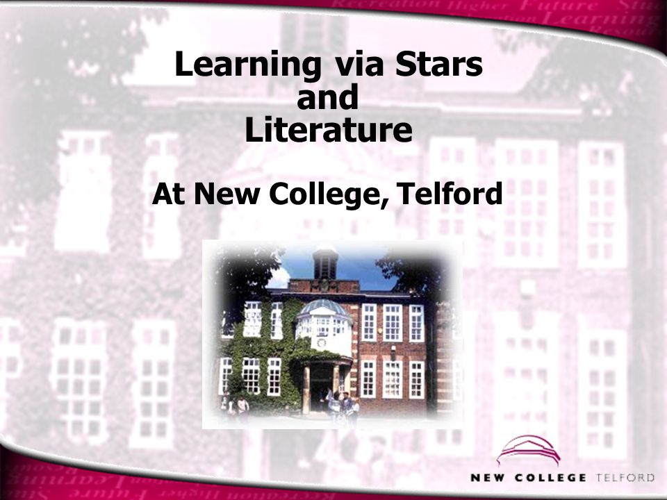 New College Sixth Form College for Telford and East Shropshire 1200 students 16 – 19 Provision Full and Part time study available AS, A2 Courses and specialist vocational subjects