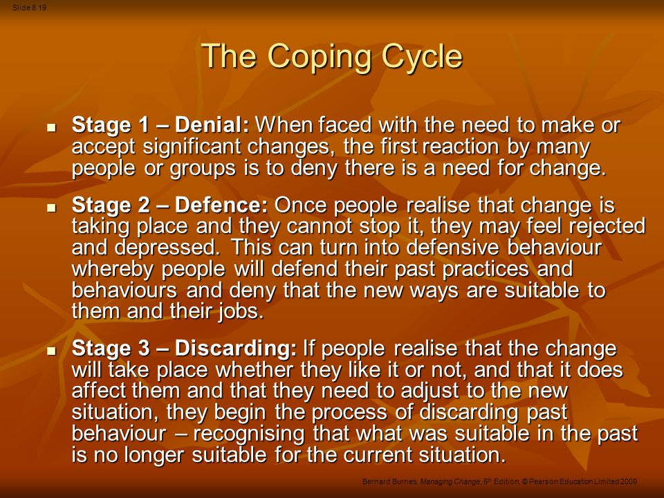 Slide 8.19 Bernard Burnes, Managing Change, 5 th Edition, © Pearson Education Limited 2009 The Coping Cycle Stage 1 – Denial: When faced with the need