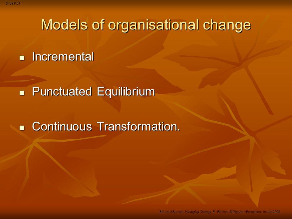 Slide 8.31 Bernard Burnes, Managing Change, 5 th Edition, © Pearson Education Limited 2009 Models of organisational change Incremental Incremental Pun