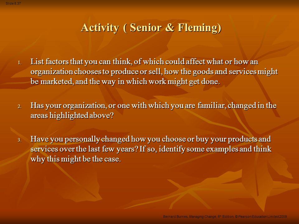 Slide 8.37 Bernard Burnes, Managing Change, 5 th Edition, © Pearson Education Limited 2009 Activity ( Senior & Fleming) Activity ( Senior & Fleming) 1