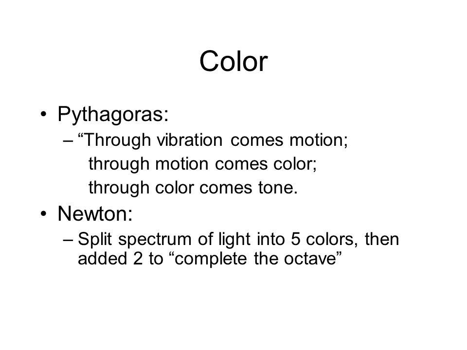 "Color Pythagoras: –""Through vibration comes motion; through motion comes color; through color comes tone. Newton: –Split spectrum of light into 5 colo"