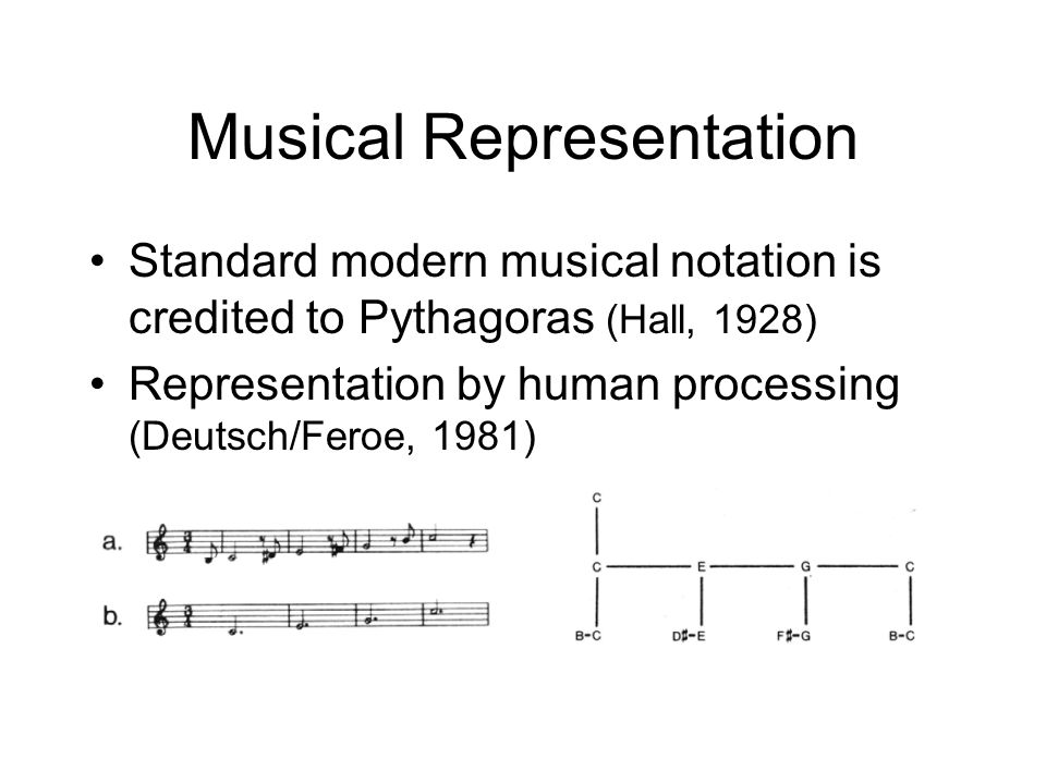 Musical Representation Standard modern musical notation is credited to Pythagoras (Hall, 1928) Representation by human processing (Deutsch/Feroe, 1981)