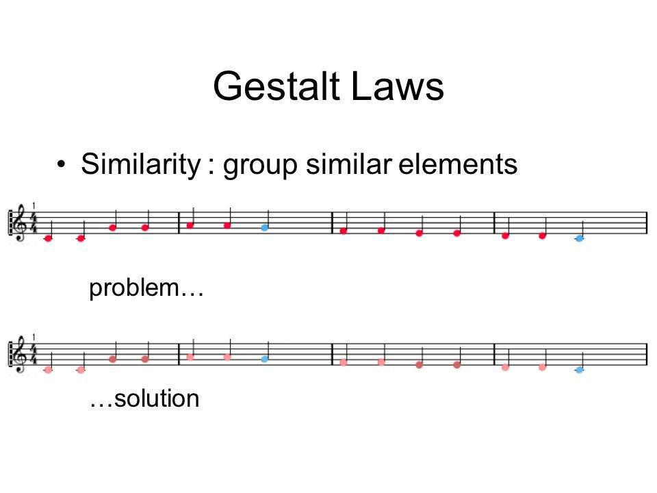 Gestalt Laws Similarity : group similar elements problem… …solution