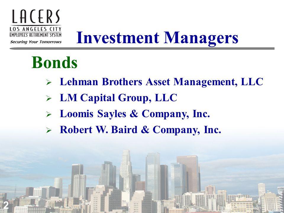 Securing Your Tomorrows 3 Investment Managers  Alliance Capital Management  Aronson + Johnson + Ortiz, LP  Barclays Global Investors  Fiduciary Trust Company International  Oak Associates, Ltd.