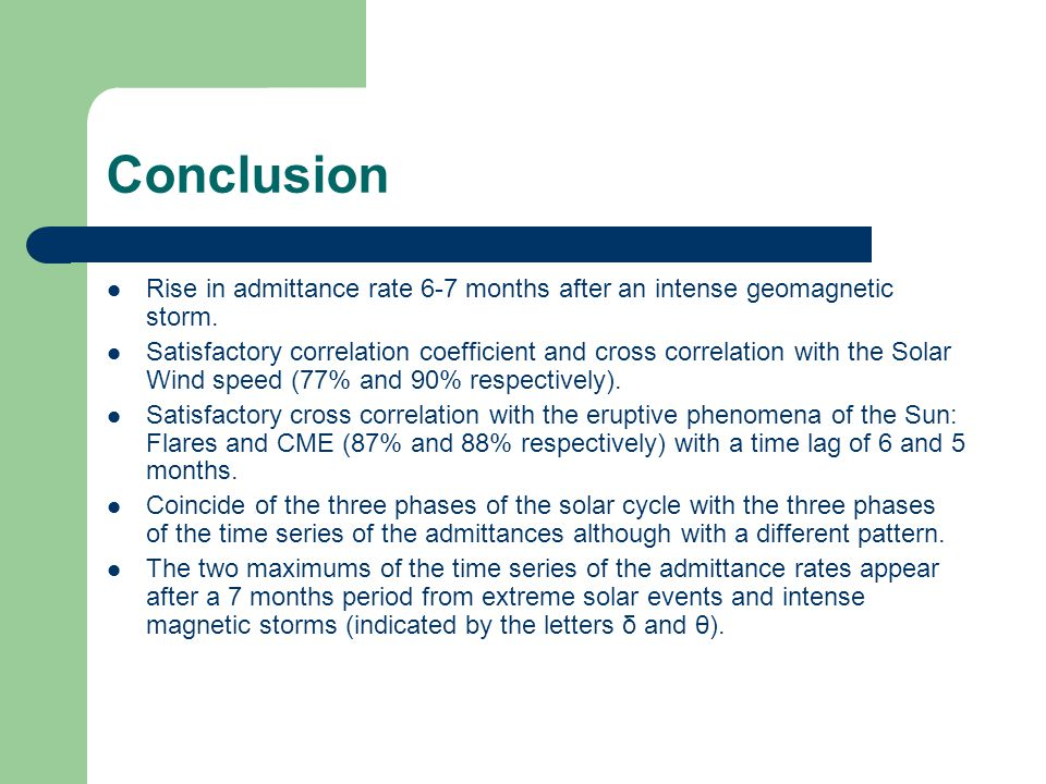 Conclusion Rise in admittance rate 6-7 months after an intense geomagnetic storm.