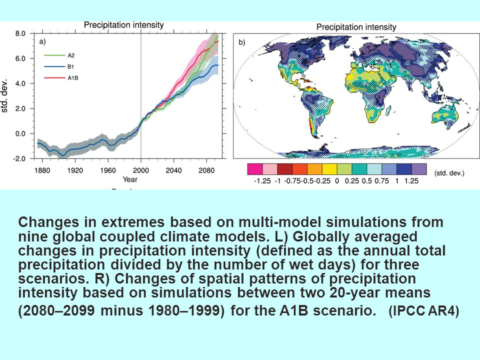 Changes in extremes based on multi-model simulations from nine global coupled climate models.