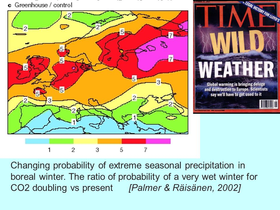 Changing probability of extreme seasonal precipitation in boreal winter.