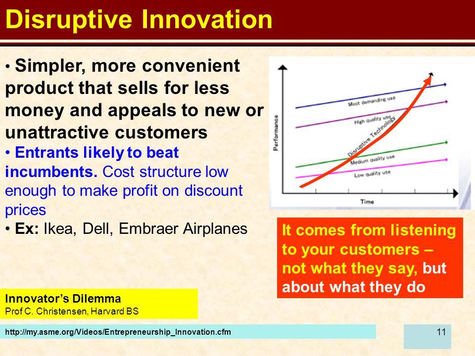 11 Disruptive Innovation http://my.asme.org/Videos/Entrepreneurship_Innovation.cfm Innovator's Dilemma Prof C.