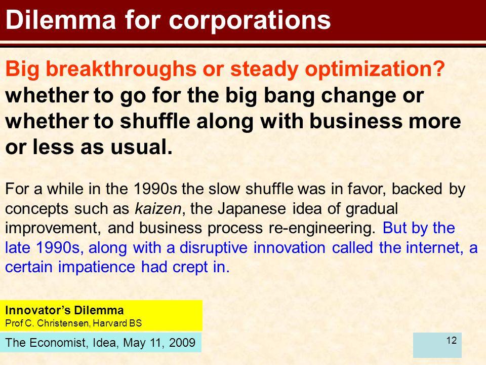12 Dilemma for corporations Innovator's Dilemma Prof C.