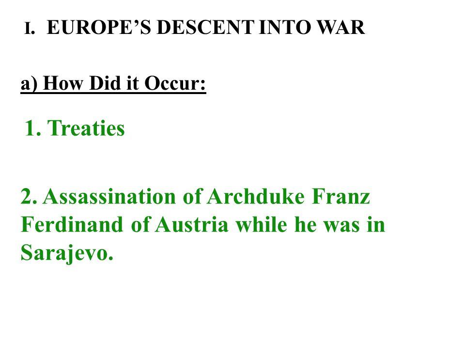 Underlying Causes: 1)Nationalism 2)Militarism 3)Economic Recession in Europe