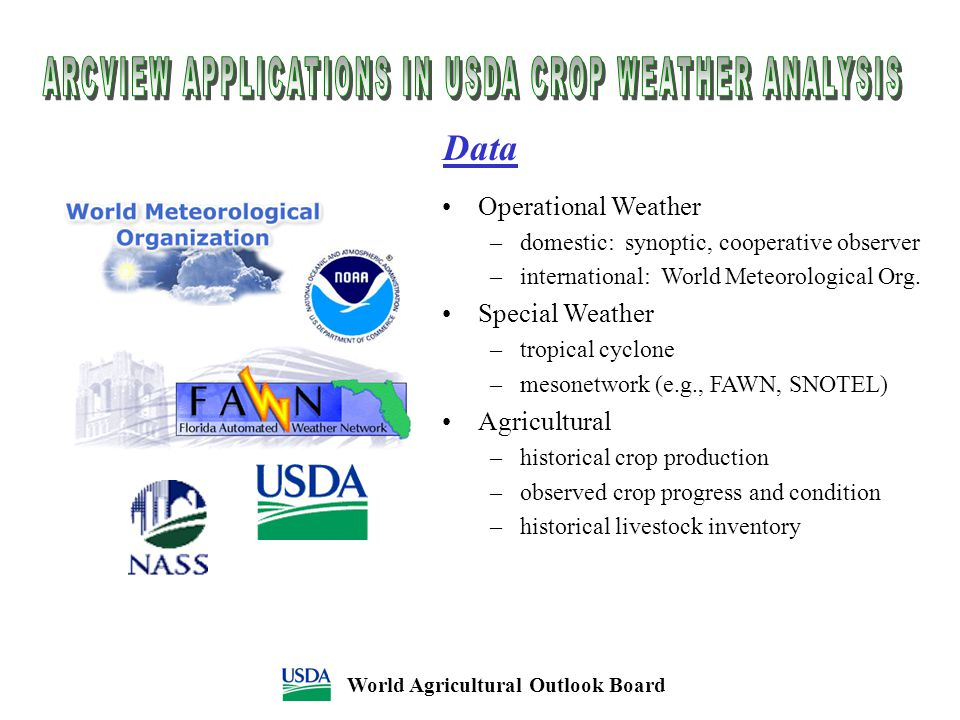 Data World Agricultural Outlook Board Operational Weather –domestic: synoptic, cooperative observer –international: World Meteorological Org. Special