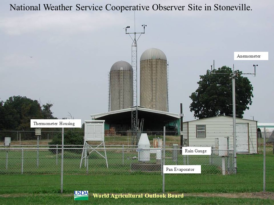 National Weather Service Cooperative Observer Site in Stoneville. Pan Evaporator Anemometer Thermometer Housing Rain Gauge World Agricultural Outlook