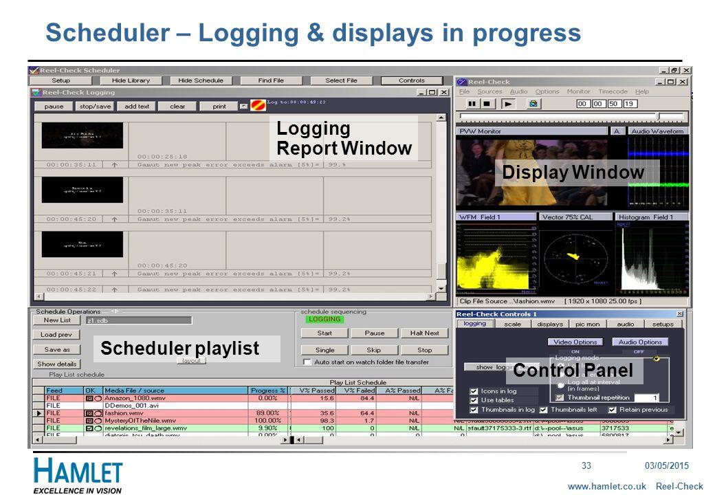 3303/05/2015 Reel-Checkwww.hamlet.co.uk Display Window Control Panel Logging Report Window Scheduler – Logging & displays in progress Scheduler playlist