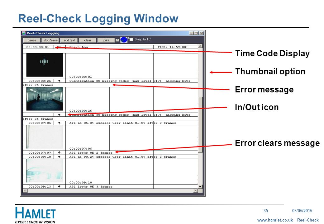 3503/05/2015 Reel-Checkwww.hamlet.co.uk Reel-Check Logging Window Time Code Display Thumbnail option Error message In/Out icon Error clears message